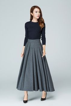grey skirt long skirt wool skirt. pleated skirt ladies