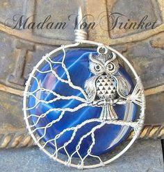 Wire Wrapped Owl Pendant with Blue Agate Super Moon