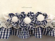 Copri Forno Quadretti Blu con fiori rimovibili