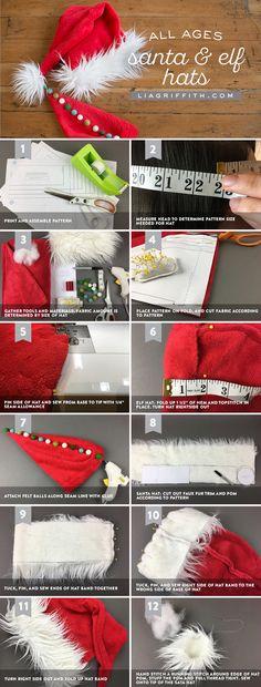 DIY Elf and Santa Hats - Lia Griffith