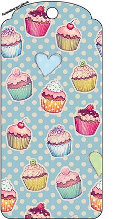 Tag Agradecimento Cupcakes: Printable Labels, Printable Paper, Printables, Scrapbook Paper, Scrapbooking, Diy And Crafts, Paper Crafts, Cupcake Art, Pintura Country