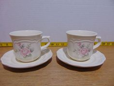 Two Pfaltzgraff Tea Rose 3 Coffee Mugs With Saucers Dish Sets, Tea Roses, Tea Cups, Coffee Mugs, Tableware, Dinnerware, Dinnerware Sets, Coffee Cups, Tablewares