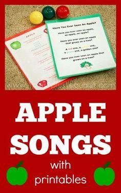 Apple theme: Apple Songs with free printables Preschool Apple Theme, Preschool Music, Fall Preschool, Preschool Themes, Preschool Lessons, Preschool Apples, Preschool Apple Activities, Autumn Activities, Kindergarten Apples