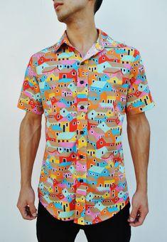Camisa De Manga Corta con Botones por VintageDivinitiess en Etsy