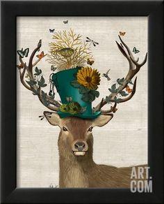 Mad Hatter Deer Framed Art Print by Fab Funky at Art.com