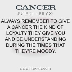 Fact about Cancer: Always remember to give a Cancer the kind of loyalty... #cancer, #cancerfact, #zodiac. More info here: https://www.horozo.com/blog/always-remember-to-give-a-cancer-the-kind-of-loyalty/ Astrology dating site: https://www.horozo.com