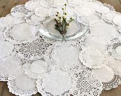 ROUND DOILY CENTERPIECE - Shabby Rustic Paper Doilies - Diy, Weddings, Parties, Table Decor, Tablescape, Centerpiece, Decoration
