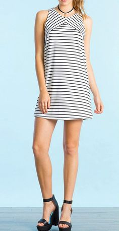 Simple but modest. This color block striped print dress made from cozy fabric with round neck, sleeveless design and slim fit style. Own it at OASAP.com