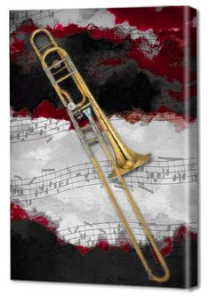 Menaul Fine Art 'Jazz Trombone' by Scott J. Menaul Graphic Art on Wrapped Canvas Size: Artist Canvas, Canvas Art, Canvas Paintings, Canvas Size, Red Sign, Best Canvas, Trombone, Painting Techniques, Online Art Gallery