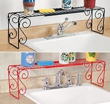---- New Expandable Sink Shelf Red, Black OR White Kitchen Decor