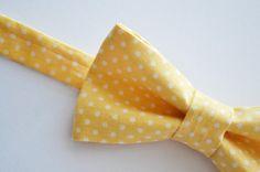 Mens Bowtie Yellow and White Polka Dot <3