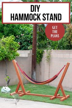 This DIY Hammock stand is easy to build using 4×4 wood with full instructions, video tutorial and plans. Learn how to build a hammock stand in a few hours with just 3 tools! #AnikasDIYLife #outdoorfurniture #woodworking Diy Pallet Furniture, Diy Furniture Projects, Diy Wood Projects, Painted Furniture, Kreg Jig Projects, Beginner Woodworking Projects, Diy Woodworking, Wooden Hammock Stand, Diy Hammock