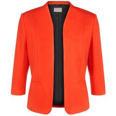 Planet Ponte Jacket, Bright Orange ($76) ❤ liked on Polyvore featuring outerwear, jackets, bright orange, womens plus size jackets, short jacket, plus size jackets, 3/4 sleeve jacket and plus size red jacket