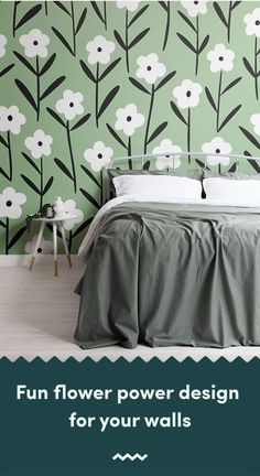 Inspired by fashion trends, this cute floral retro wallpaper will introduce charming design to your theme. Sunflower Wallpaper, Green Wallpaper, Retro Wallpaper, Wallpaper Murals, Retro Floral, Floral Style, Floral Design, Floral Wall, Wall Design