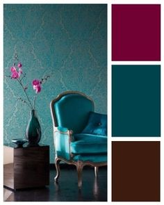 Teal and brown with maroon accents