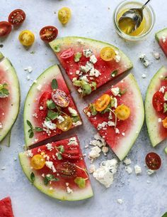 Watermelon Salad Wedges with Blue Cheeseby How Sweet Eats