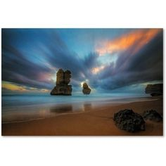 Trademark Fine Art Beach at Sunset 2 inch Canvas Art by Lincoln Harrison, Size: 16 x 24, Multicolor