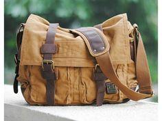 Brown Military Style Messenger Bag - Larger Version