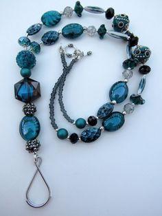 Elegant Handmade Deep Teal Beaded ID Lanyard Eyeglass Chain Boho Style | eBay