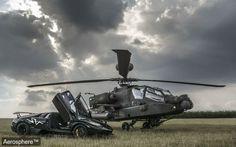 A Murcielago SV and an AH-64 Apache. WOW