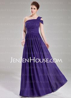 Bridesmaid Dresses - $126.99 - A-Line/Princess One-Shoulder Floor-Length Chiffon Bridesmaid Dress With Ruffle (007019661) http://jenjenhouse.com/A-Line-Princess-One-Shoulder-Floor-Length-Chiffon-Bridesmaid-Dress-With-Ruffle-007019661-g19661
