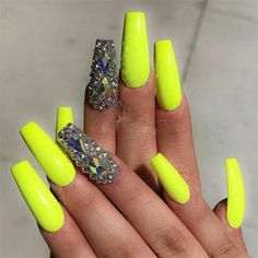 25 Neon Nail Art Designs You Must Try This Summer - Fashonails Nail Ideas nail ideas neon Neon Yellow Nails, Neon Acrylic Nails, Yellow Nails Design, Neon Nail Art, Yellow Nail Art, Neon Nails, Dope Nails, My Nails, Neon Nail Designs