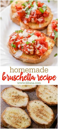 This yummy Homemade Bruschetta is quick, simple and perfect for any party! It takes just 5 ingredients and is the perfect appetizer for any occasion. Bruschetta Bread, How To Make Bruschetta, Easy Bruschetta Recipe, Homemade Bruschetta, Yummy Appetizers, Appetizers For Party, Appetizer Recipes, Simple Appetizers, Italian Appetizers