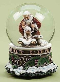 Adoring Santa Musical Globe Plays Silent Night Christmas Decoration