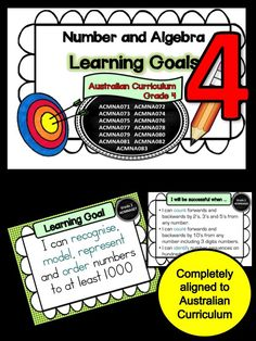This packet has all the posters you will need to display the learning goals for Grade 4 Australian Curriculum Maths – Number and Algebra. All content descriptors have been reworded into smart goals with an accompanying poster showing the success criteria needed to achieve these goals. I am currently working on the same file for the other mathematics strands and a packet that will have assessments for each of the success criteria pertaining to each learning goal.