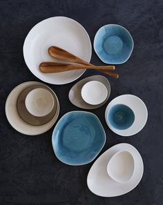 bowls. styled by laurent laborie - I love bowls with blue innards