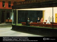 """Nighthawks, 1942 Ed Hopper. (in Edward Hopper's handwriting) the intended name of the work was actually """"Night Hawks"""", perhaps named after the """"Man night hawk (beak) in dark suit, steel grey hat"""", and was completed on 1-21-1942.  Hopper's biographer, Gail Levin, speculates that Hopper may have been inspired by Vincent Van Gogh's Café at Night, which was showing at a gallery in New York in January 1942. The similarity in lighting and themes makes this possible."""