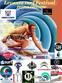 #Levanto Surf Festival 2016! Festival events during RipCurl Grom Search wait period March 15 - April 15. Come out and see all  Levanto's talent!