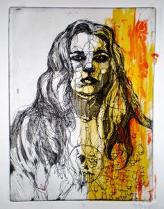 line drawing portrait with abstract color