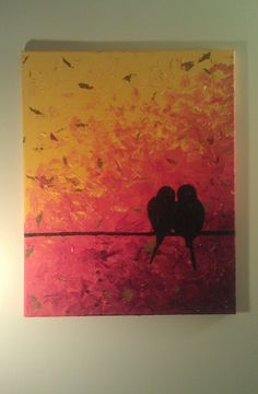 Impasto Original Acrylic Painting Birds Love On A by kidmenotart, $55.00