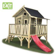 Kinder-Spielhaus EXIT Crooky 350 Holzhaus Stelzenhaus mit großer Veranda - Sehr liebevoll gestaltetes, vorangestrichenes Spielhaus auf kleinen Stelzen mit kleiner Rutsche