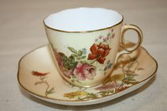 Antique Royal Worcester Hand Painted Tea Cup and Saucer Orange Dahlias Flowers