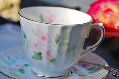 tea cups vintage | Vintage Duchess Tea Cup and Saucer, Light Pink Rose Floral, England