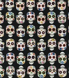 Novelty Cotton Fabric- Sugar Skulls, , hi-res