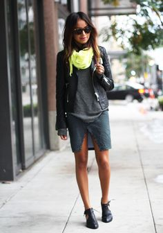 Neon Yellow Scarf, gray shirt, black leather jacket. (with jeans, Not the skirt.)
