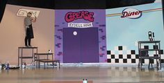 Grease Set Design & Marketing Material by Jilly Cooper, via Behance Set Design Theatre, Stage Design, Grease Play, Sock Hop Decorations, Theatre Props, Stage Props, Musical Theatre, Grease Theme, Grease Musical