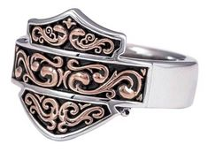 Harley-Davidson® Women's Herald Signet Ring, This ring is hand-crafted with the highest attention to detail and quality, utilizing the finest materials. Features beautiful Bar & Shield logo with rose gold plating. Made of sterling silver. Biker Chick, Biker Girl, Harley Apparel, Harley Davidson Jewelry, Harley Davison, Biker Style, Jewelery, Rose Gold, Gold Plating
