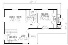 Mediterranean Style House Plan - 1 Beds 1 Baths 730 Sq/Ft Plan #1-108 Floor Plan - Main Floor Plan - Houseplans.com