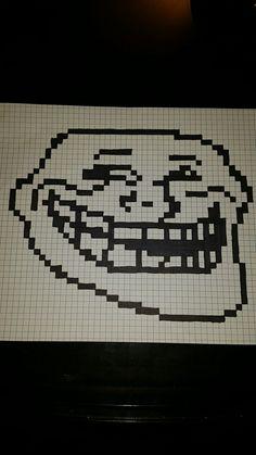 Troll pixel art Perler Bead Art, Hama Beads, Fuse Beads, Minecraft Pixel Art, Creeper Minecraft, Minecraft Buildings, Cross Stitch Charts, Cross Stitch Patterns, Pixel Art Grid