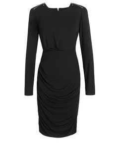 Black Label Fabric Mix Zipper Dress