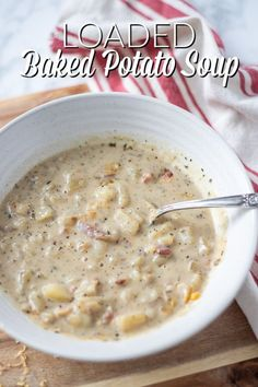 Loaded Baked Potato Soup is one to hit the spot. Creamy chicken broth is full of chunky potatoes, bacon, and cheese. Plus, if you make enough you can leftovers that last you through the week. Check out this delicious and easy potato soup recipe. #ablossominglife #potatosoup #bakedpotatosoup #loadedpotatosoup Real Food Recipes, Free Recipes, Soup Recipes, Homemade Dinner Rolls, Easy Dinner Recipes, Healthy Meals, Healthy Recipes, Making Baked Potatoes, Loaded Baked Potato Soup