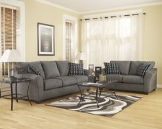 2 pc Lexi collection Cobblestone fabric upholstered sofa and love seat set with flared arms