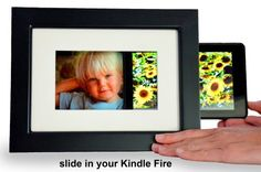 SlideFrame for Kindle Fire, Classic Black. Slide in your Kindle. Share your photos. Charge in style. Turn your Kindle Fire into a digital picture frame. by SlideWare Studios. $49.99. Slide in your Kindle. Share your photos. Charge in style. Turns your Kindle Fire into a Digital Picture Frame.  See Video of the product at: http://youtu.be/p9wZEAHbPsQ