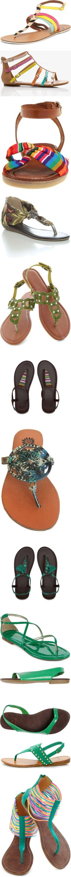"""100 flat sandals under $50/£30 IN COLOR!"" by dana-forlano on Polyvore"
