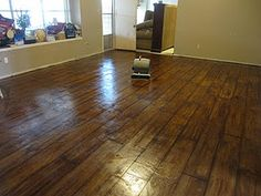 """""""wood"""" concrete floors! I want to do this to our basement!"""