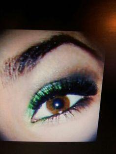 Yellow,Lime Green, Dark Green to black mac  eye shadow
